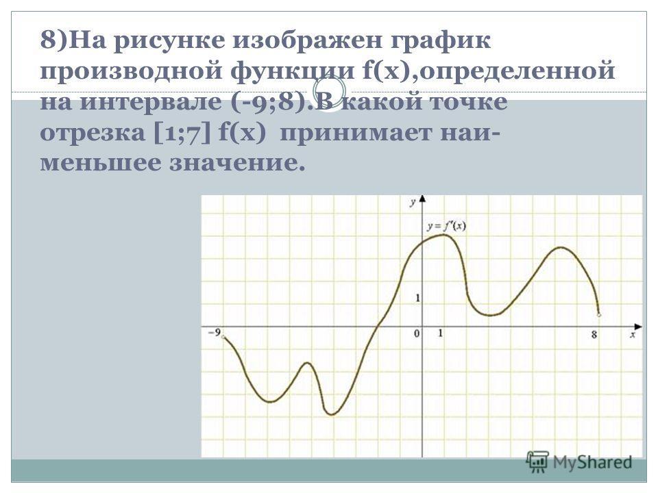 8)На рисунке изображен график производной функции f(x),определенной на интервале (-9;8).В какой точке отрезка [1;7] f(x) принимает наи- меньшее значение.