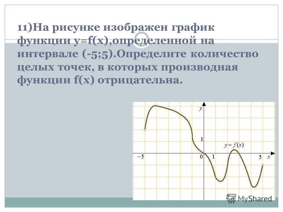 11)На рисунке изображен график функции y=f(x),определенной на интервале (-5;5).Определите количество целых точек, в которых производная функции f(x) отрицательна.