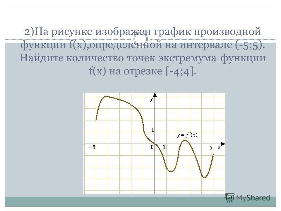 2)На рисунке изображен график производной функции f(x),определенной на интервале (-5;5). Найдите количество точек экстремума функции f(x) на отрезке [-4;4].