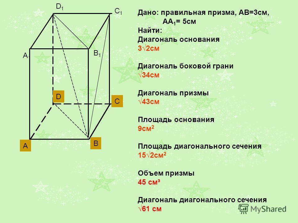 A1A1 B1B1 C1C1 D1D1 A B C D Дано: правильная призма, АВ=3см, АА 1 = 5см Найти: Диагональ основания 32см Диагональ боковой грани 34см Диагональ призмы 43см Площадь основания 9см 2 Площадь диагонального сечения 152см 2 Объем призмы 45 см³ Диагональ диа