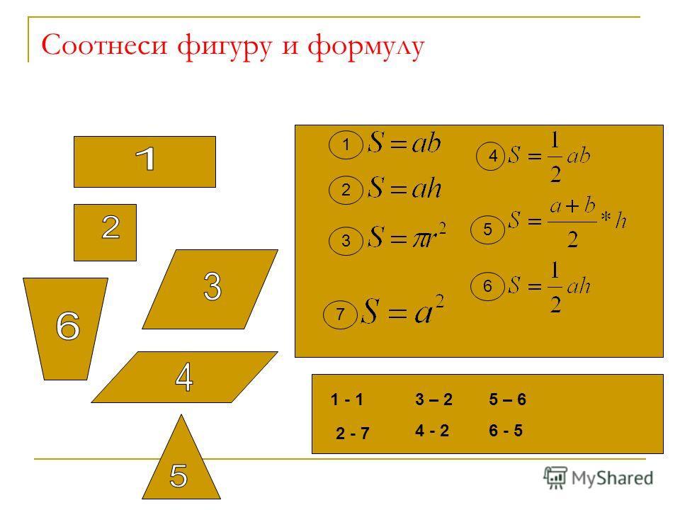 Соотнеси фигуру и формулу 1 2 3 4 5 6 1 - 1 2 - 7 3 – 2 4 - 2 5 – 6 6 - 5 7