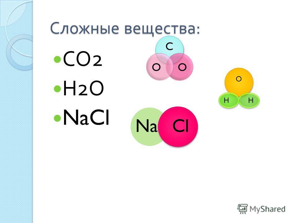 Сложные вещества : СО 2 Н 2 О NaCl C OO O HH NaCl