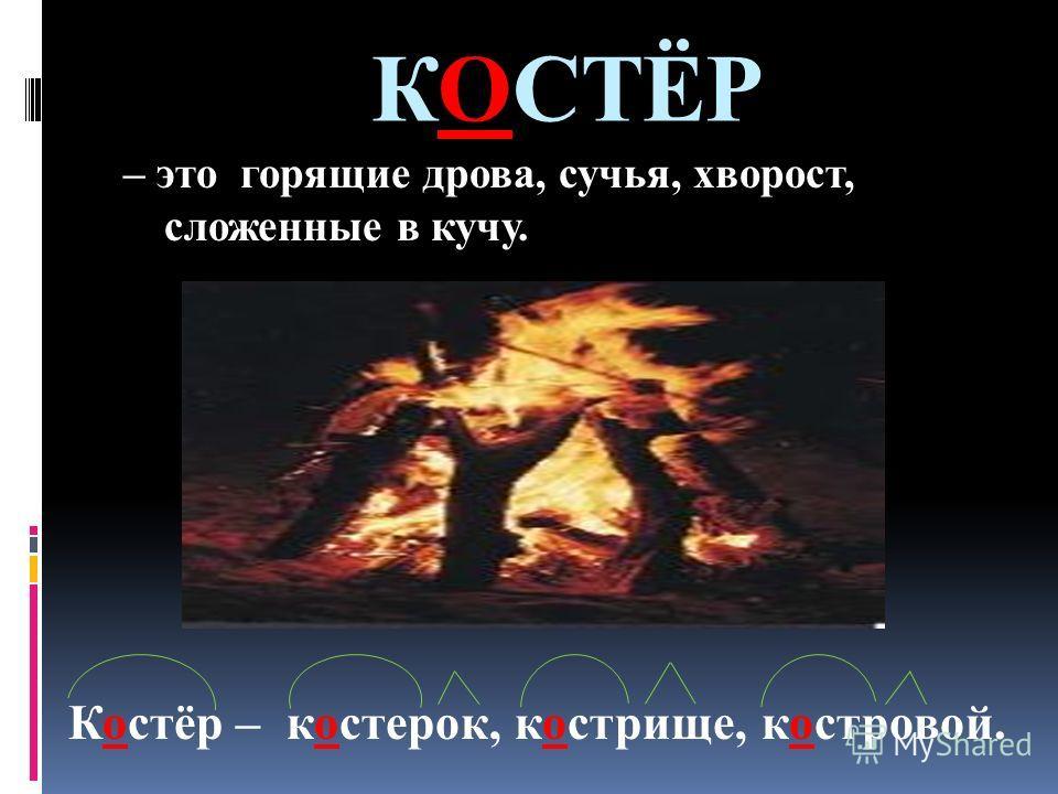 КОСТЁР – это горящие дрова, сучья, хворост, сложенные в кучу. Костёр – костерок, кострище, костровой.