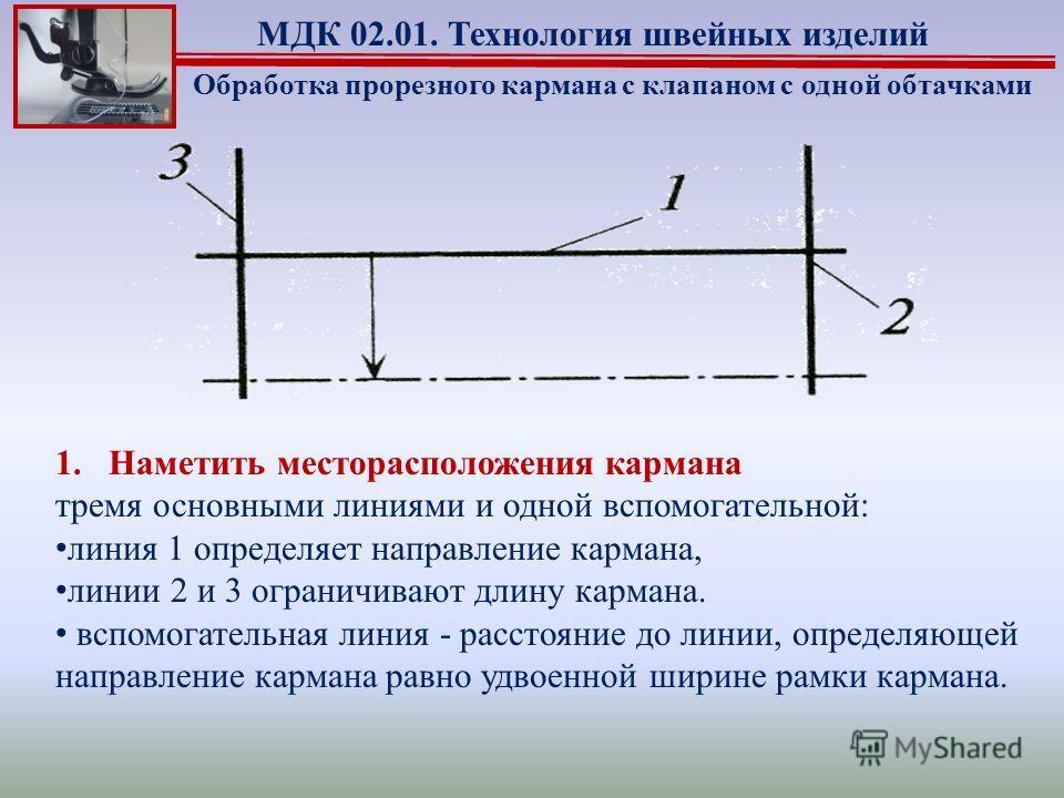 1.Наметить месторасположения кармана тремя основными линиями и одной вспомогательной: линия 1 определяет направление кармана, линии 2 и 3 ограничивают длину кармана. вспомогательная линия - расстояние до линии, определяющей направление кармана равно