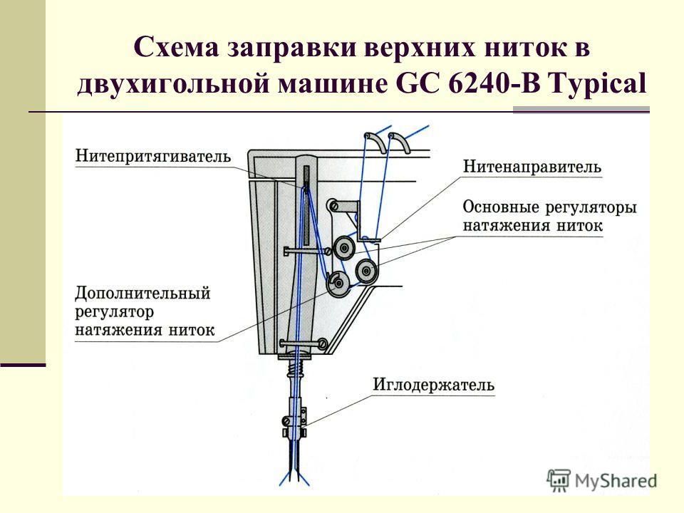 Схема заправки верхних ниток в двухигольной машине GC 6240-B Typical
