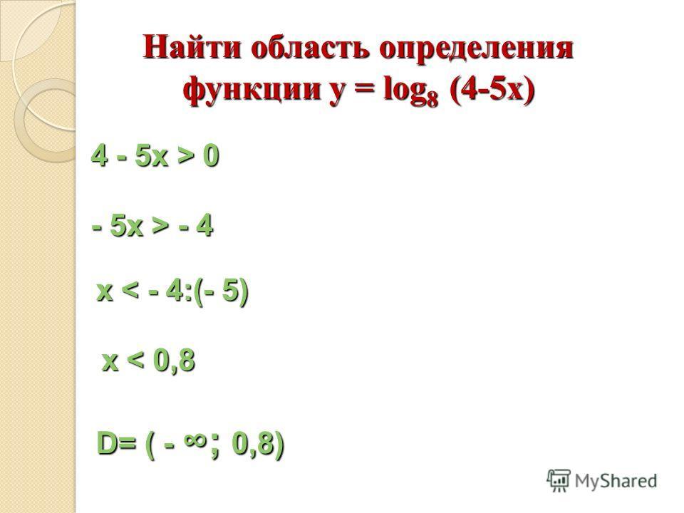 Найти область определения функции y = log 8 (4-5x) 4 - 5x > 04 - 5x > 04 - 5x > 04 - 5x > 0 - 5x > - 4 х < - 4:(- 5) х < 0,8 D= ( -; 0,8)