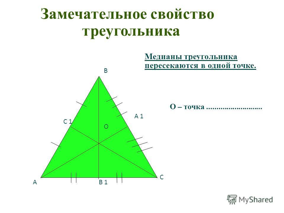 О В А С В 1 С 1 А 1 Замечательное свойство треугольника Медианы треугольника пересекаются в одной точке. О – точка............................