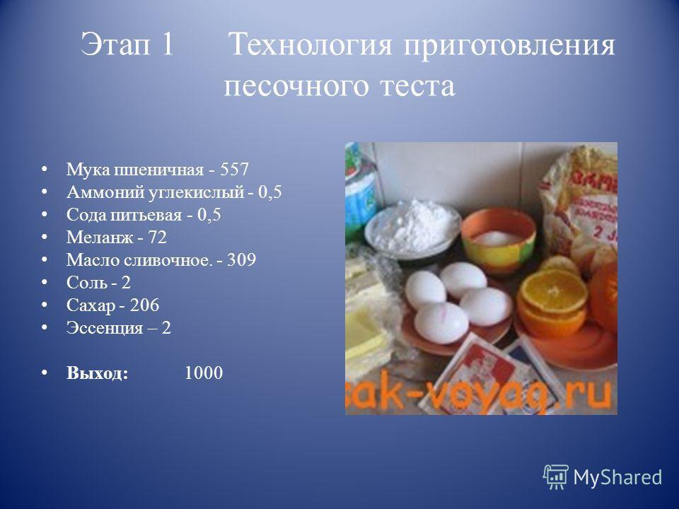 Этап 1 Технология приготовления песочного теста Мука пшеничная - 557 Аммоний углекислый - 0,5 Сода питьевая - 0,5 Меланж - 72 Масло сливочное. - 309 Соль - 2 Сахар - 206 Эссенция – 2 Выход: 1000