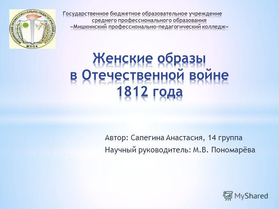 Автор: Сапегина Анастасия, 14 группа Научный руководитель: М.В. Пономарёва