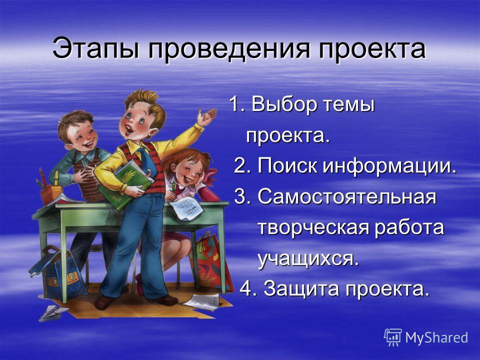 Этапы проведения проекта 1. Выбор темы 1. Выбор темы проекта. проекта. 2. Поиск информации. 2. Поиск информации. 3. Самостоятельная 3. Самостоятельная творческая работа творческая работа учащихся. учащихся. 4. Защита проекта. 4. Защита проекта.