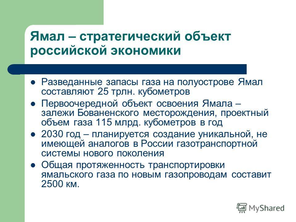 Ямал – стратегический объект российской экономики Разведанные запасы газа на полуострове Ямал составляют 25 трлн. кубометров Первоочередной объект освоения Ямала – залежи Бованенского месторождения, проектный объем газа 115 млрд. кубометров в год 203