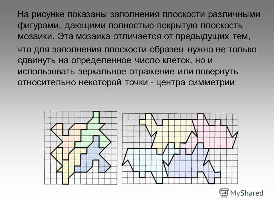 На рисунке показаны заполнения плоскости различными фигурами, дающими полностью покрытую плоскость мозаики. Эта мозаика отличается от предыдущих тем, что для заполнения плоскости образец нужно не только сдвинуть на определенное число клеток, но и исп