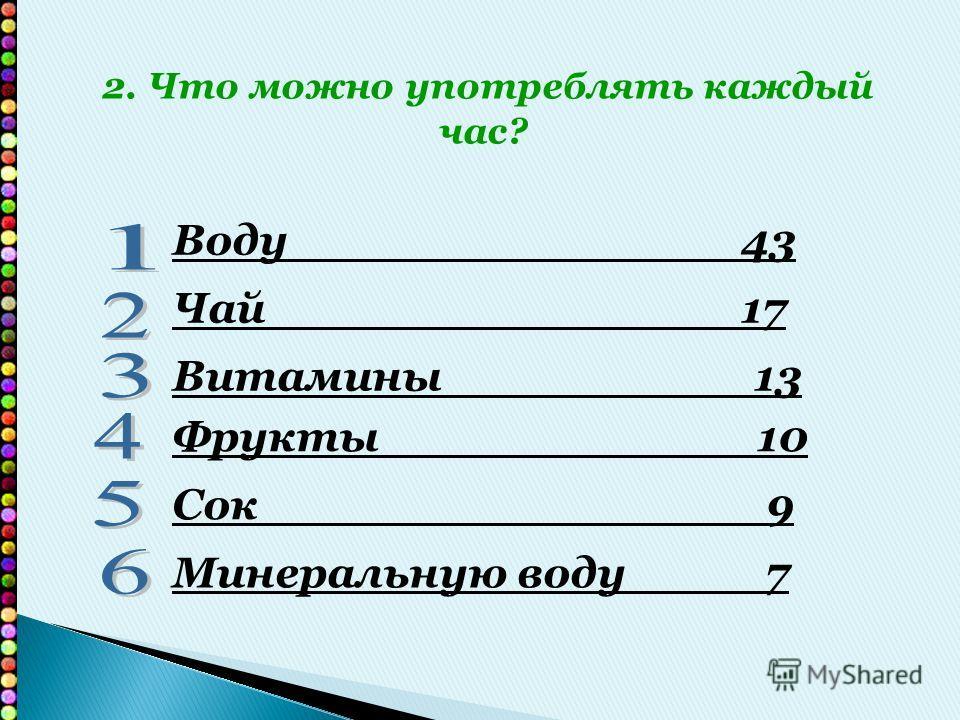 Воду 43 Чай 17 Витамины 13 Фрукты 10 Сок 9 Минеральную воду 7 2. Что можно употреблять каждый час?