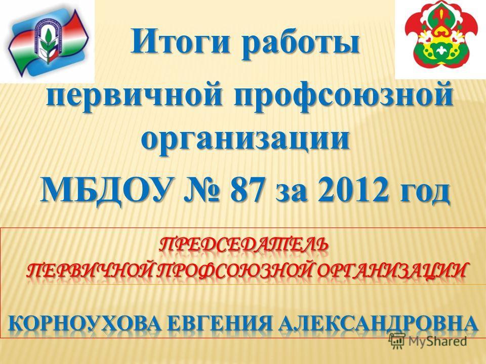 Итоги работы первичной профсоюзной организации первичной профсоюзной организации МБДОУ 87 за 2012 год