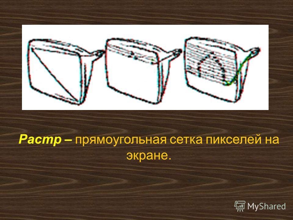Растр – прямоугольная сетка пикселей на экране.
