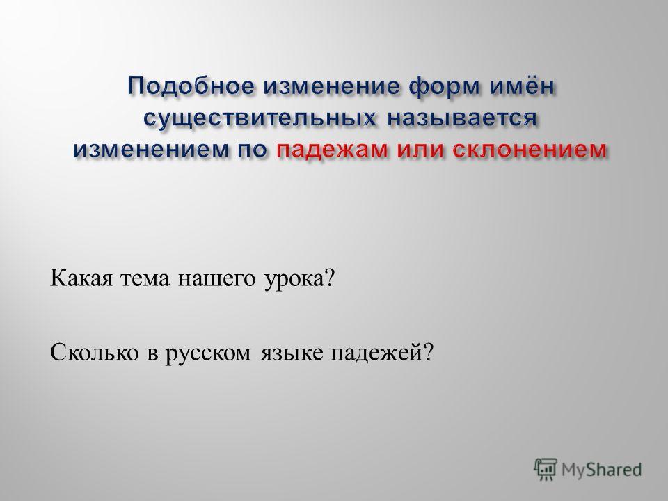 Какая тема нашего урока ? Сколько в русском языке падежей ?