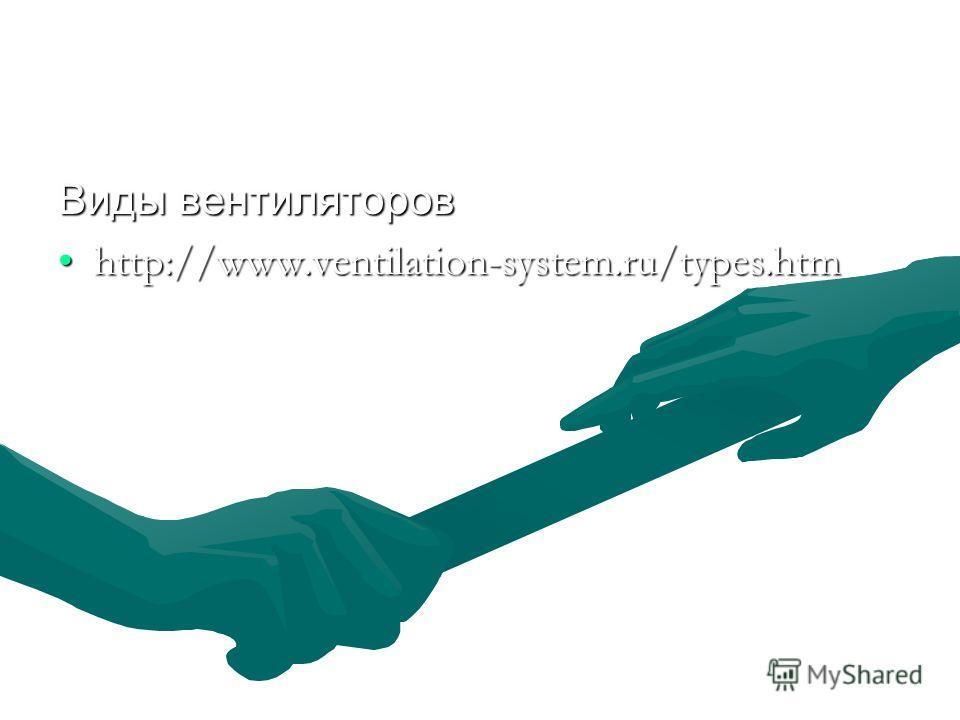 Виды вентиляторов http://www.ventilation-system.ru/types.htmhttp://www.ventilation-system.ru/types.htm