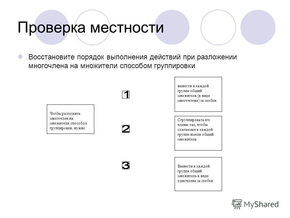 Проверка местности Восстановите порядок выполнения действий при разложении многочлена на множители способом группировки Чтобы разложить многочлен на множители способом группировки, нужно вынести в каждой группе общий множитель (в виде многочлена) за