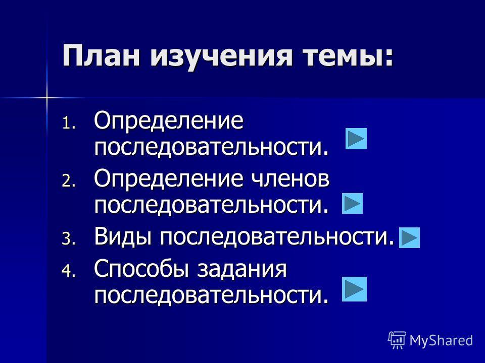 План изучения темы: 1. Определение последовательности. 2. Определение членов последовательности. 3. Виды последовательности. 4. Способы задания последовательности.