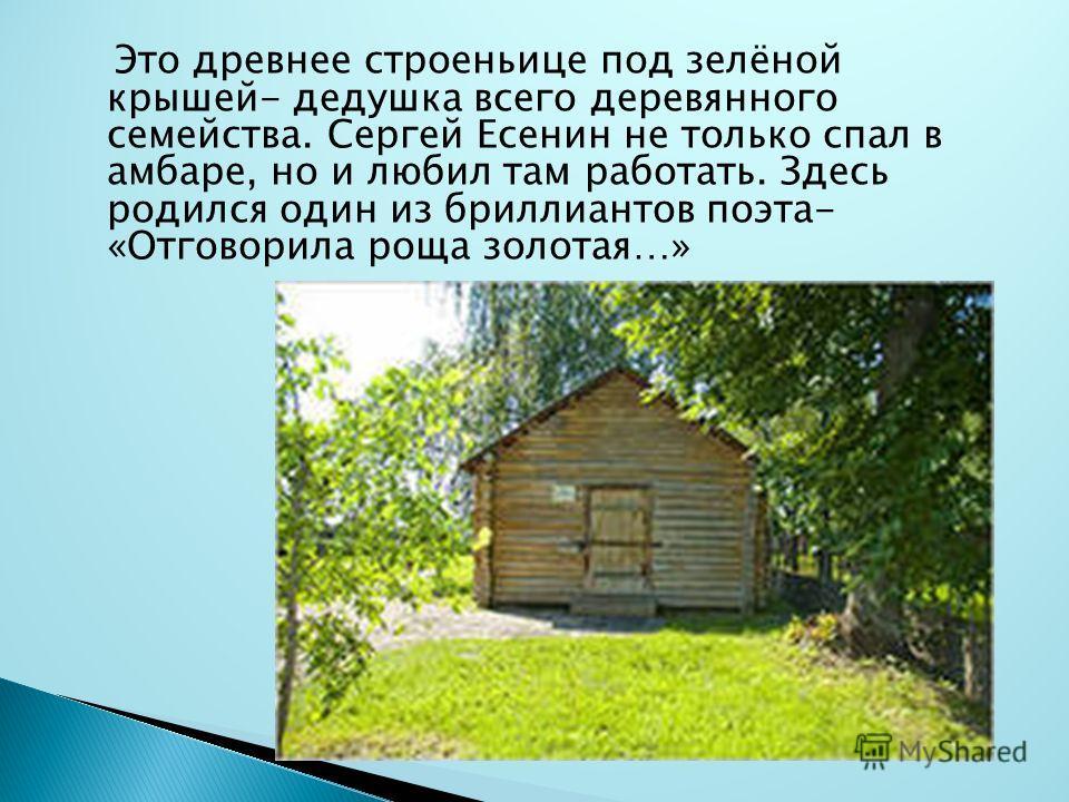 Это древнее строеньице под зелёной крышей- дедушка всего деревянного семейства. Сергей Есенин не только спал в амбаре, но и любил там работать. Здесь родился один из бриллиантов поэта- «Отговорила роща золотая…»