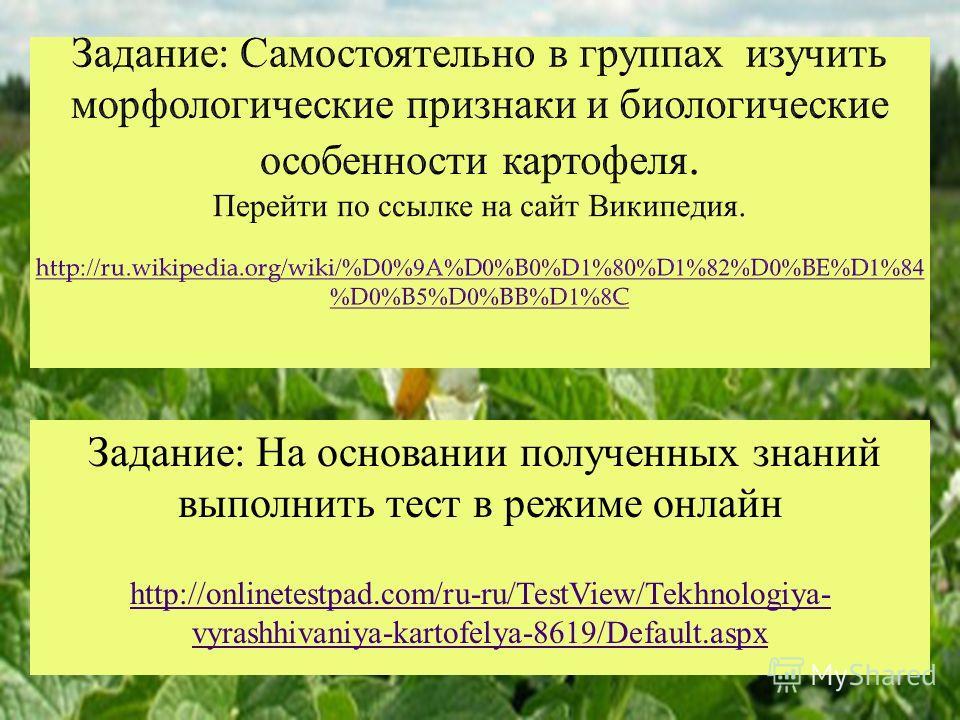 Задание : На основании полученных знаний выполнить тест в режиме онлайн http://onlinetestpad.com/ru-ru/TestView/Tekhnologiya- vyrashhivaniya-kartofelya-8619/Default.aspx