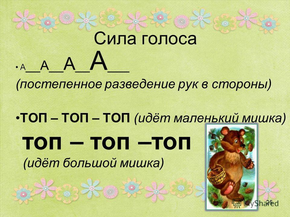 Сила голоса А __А__ А __ А ___ (постепенное разведение рук в стороны) ТОП – ТОП – ТОП (идёт маленький мишка) топ – топ –топ (идёт большой мишка) 25