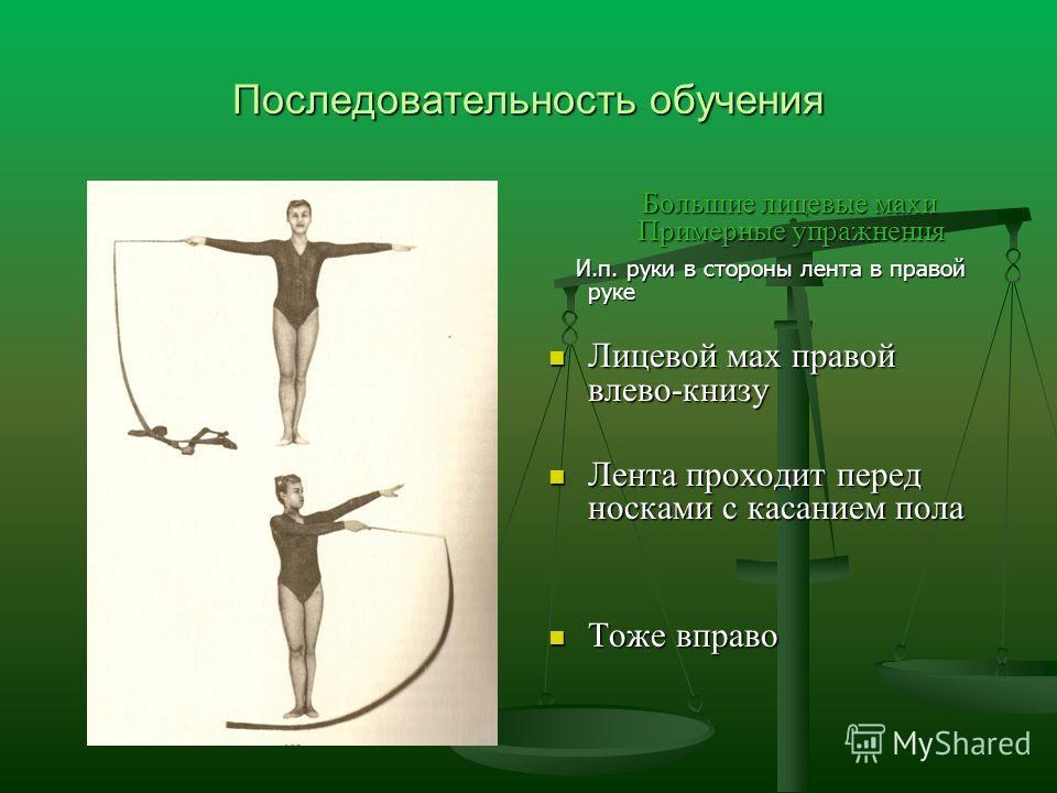 Последовательность обучения Большие лицевые махи Примерные упражнения И.п. руки в стороны лента в правой руке Лицевой мах правой влево-книзу Лента проходит перед носками с касанием пола Тоже вправо