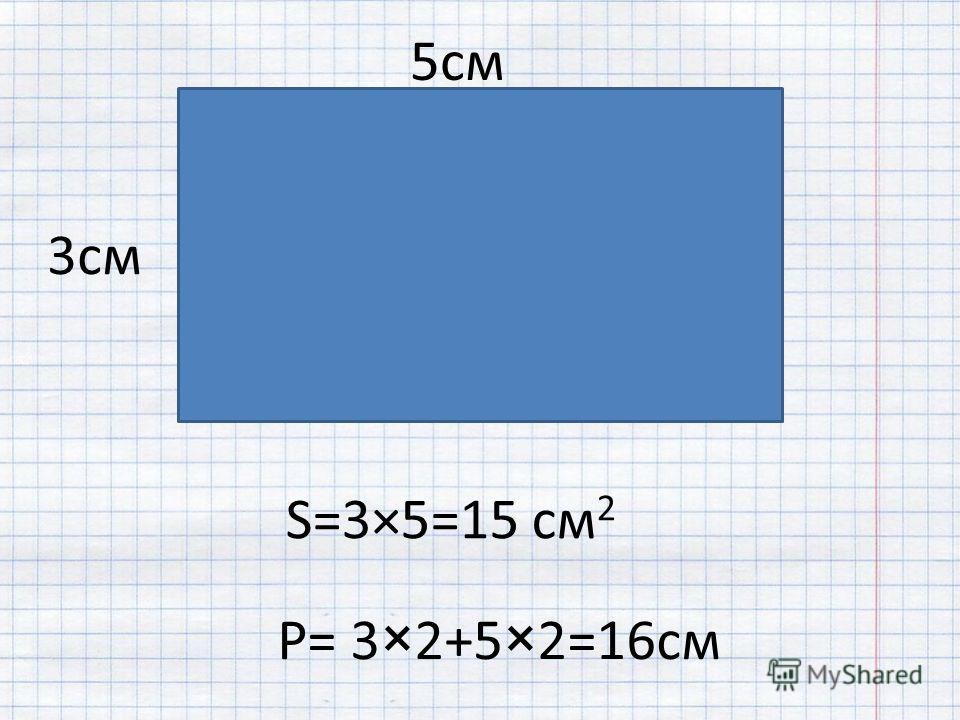 S=3×5=15 см 2 P= 3×2+5×2=16см 5см 3см