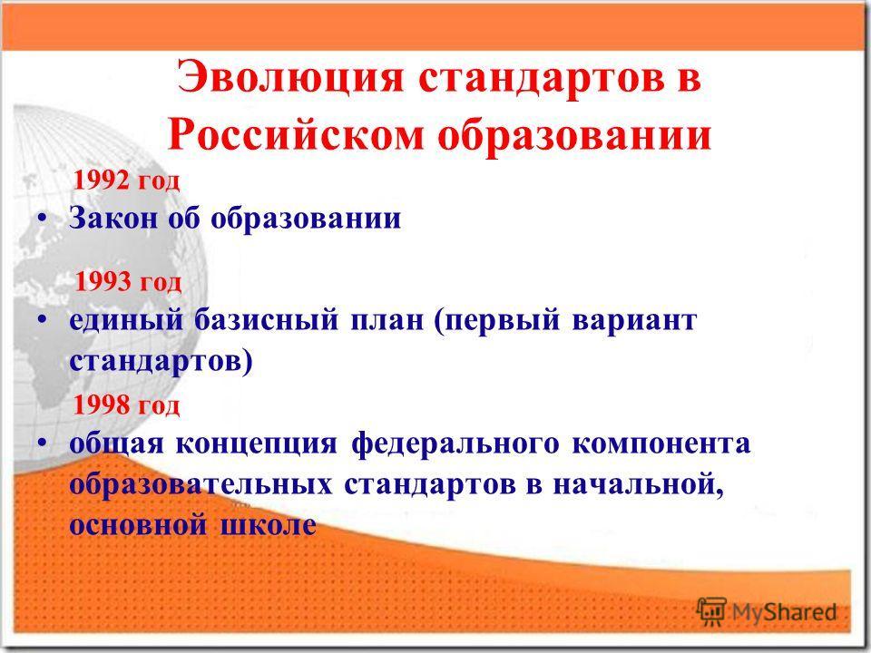 Эволюция стандартов в Российском образовании 1992 год Закон об образовании 1993 год единый базисный план (первый вариант стандартов) 1998 год общая концепция федерального компонента образовательных стандартов в начальной, основной школе