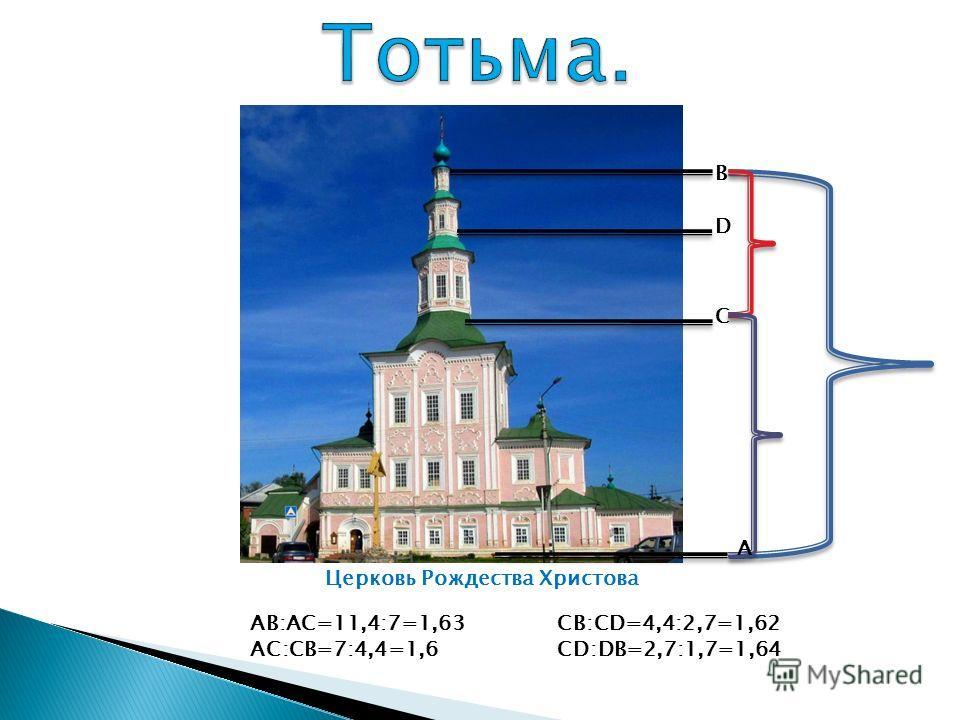 Церковь Рождества Христова В С D А AВ:АС=11,4:7=1,63 АС:СВ=7:4,4=1,6 СВ:СD=4,4:2,7=1,62 СD:DB=2,7:1,7=1,64
