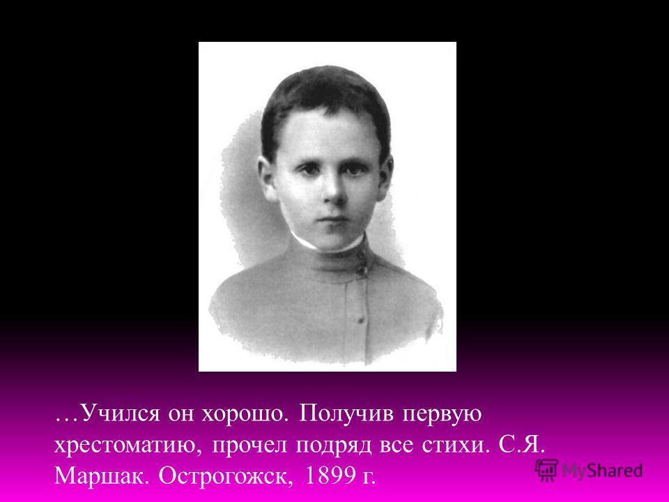 …Учился он хорошо. Получив первую хрестоматию, прочел подряд все стихи. С.Я. Маршак. Острогожск, 1899 г.