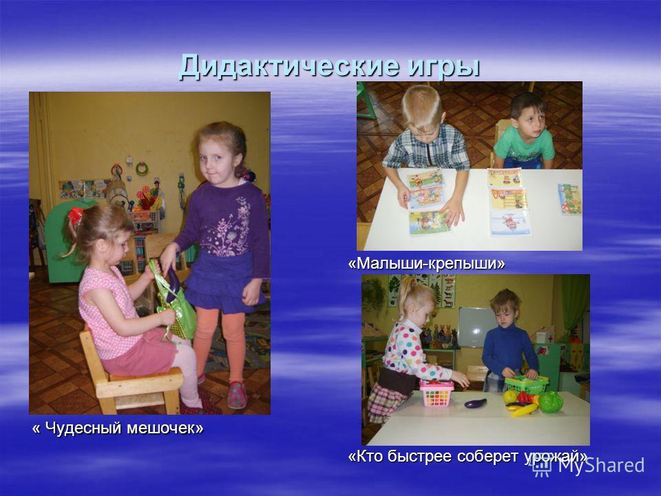 Дидактические игры « Чудесный мешочек» «Малыши-крепыши» «Кто быстрее соберет урожай»