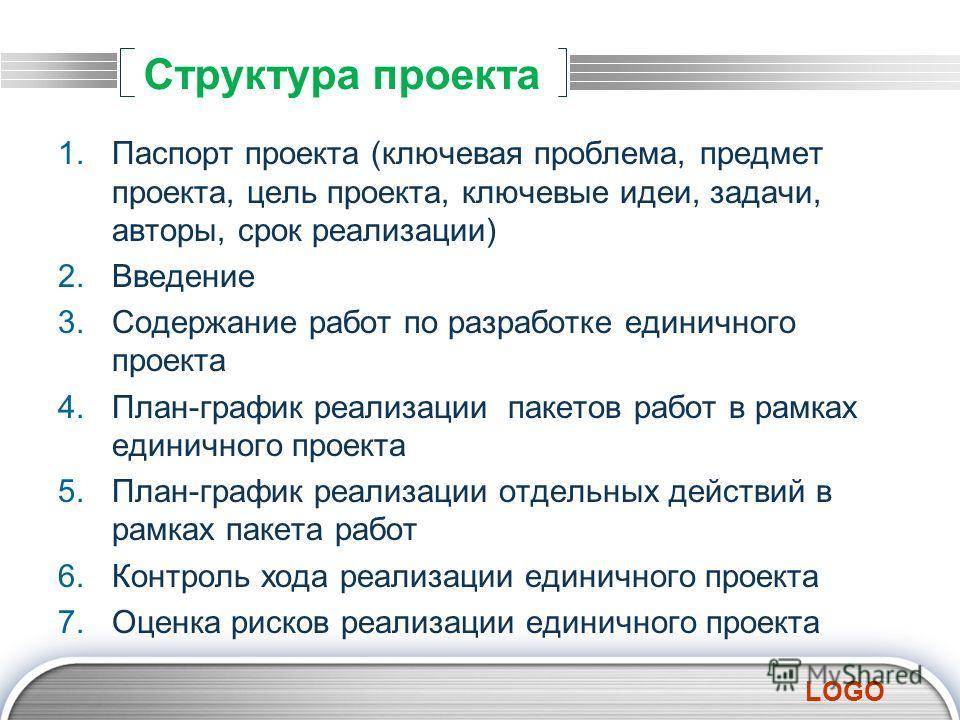 LOGO Структура проекта 1.Паспорт проекта (ключевая проблема, предмет проекта, цель проекта, ключевые идеи, задачи, авторы, срок реализации) 2.Введение 3.Содержание работ по разработке единичного проекта 4.План-график реализации пакетов работ в рамках