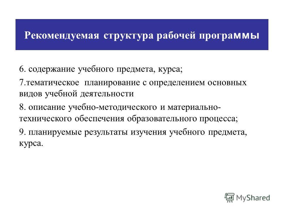 Рекомендуемая структура рабочей програ ммы 6. содержание учебного предмета, курса; 7.тематическое планирование с определением основных видов учебной деятельности 8. описание учебно-методического и материально- технического обеспечения образовательног