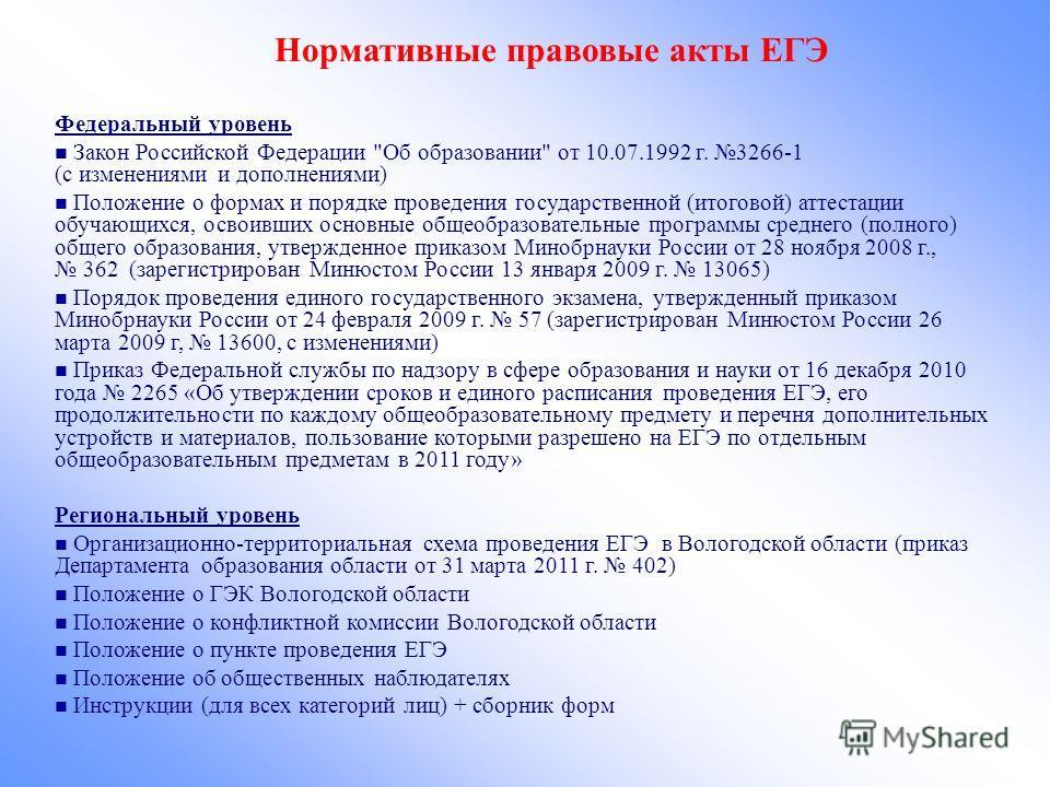 Нормативные правовые акты ЕГЭ Федеральный уровень Закон Российской Федерации