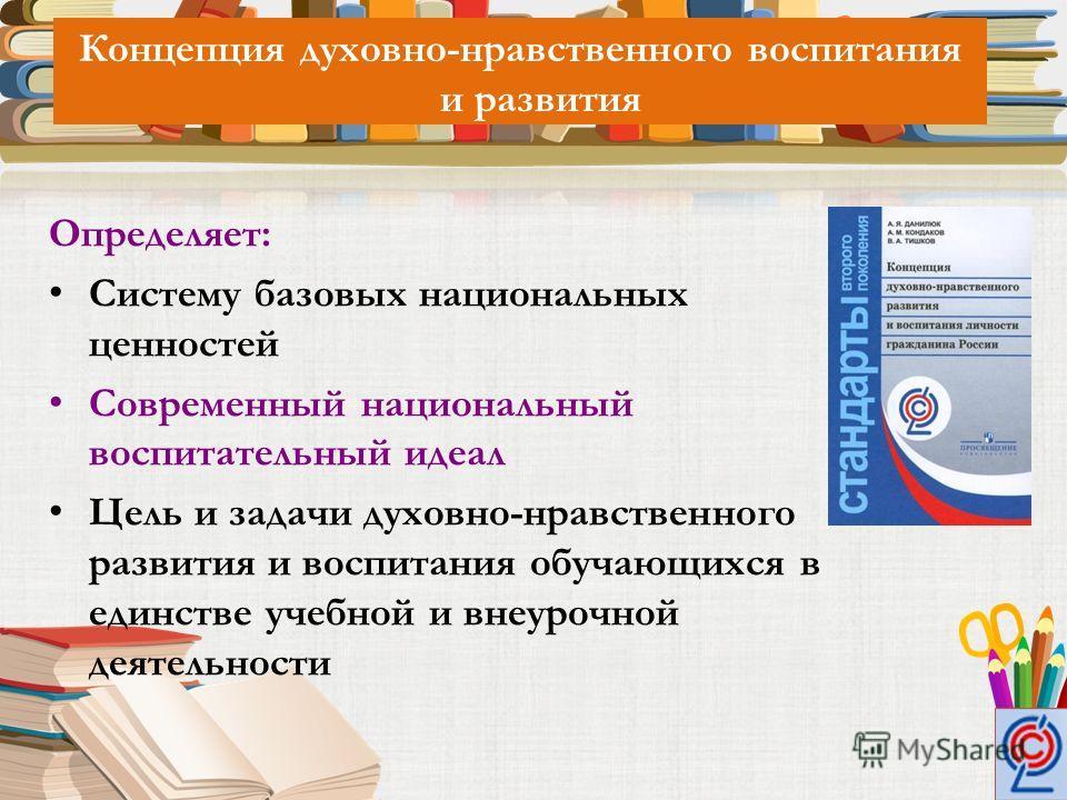 Концепция духовно-нравственного воспитания и развития Определяет: Систему базовых национальных ценностей Современный национальный воспитательный идеал Цель и задачи духовно-нравственного развития и воспитания обучающихся в единстве учебной и внеурочн