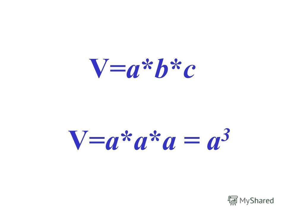 V=a*b*с V=a*а*а = а 3