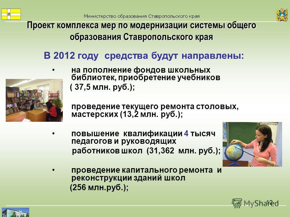 12 В 2012 году средства будут направлены: на пополнение фондов школьных библиотек, приобретение учебников ( 37,5 млн. руб.); проведение текущего ремонта столовых, мастерских (13,2 млн. руб.); повышение квалификации 4 тысяч педагогов и руководящих раб