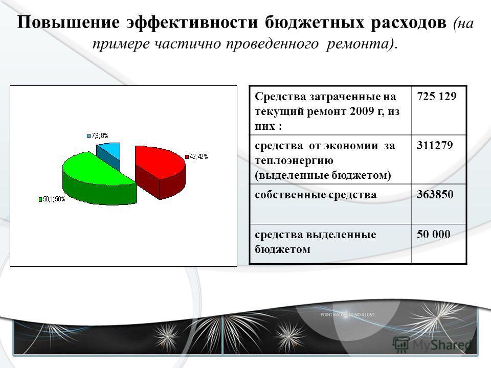 Повышение эффективности бюджетных расходов (на примере частично проведенного ремонта). Средства затраченные на текущий ремонт 2009 г, из них : 725 129 средства от экономии за теплоэнергию (выделенные бюджетом) 311279 собственные средства363850 средст