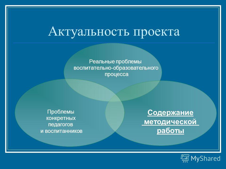 Актуальность проекта Реальные проблемы воспитательно-образовательного процесса Содержание методической работы Проблемы конкретных педагогов и воспитанников