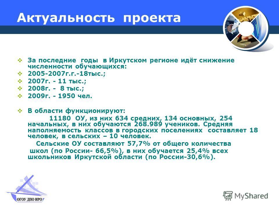 Актуальность проекта За последние годы в Иркутском регионе идёт снижение численности обучающихся: 2005-2007г.г.-18тыс.; 2007г. - 11 тыс.; 2008г. - 8 тыс.; 2009г. - 1950 чел. В области функционируют: 11180 ОУ, из них 634 средних, 134 основных, 254 нач