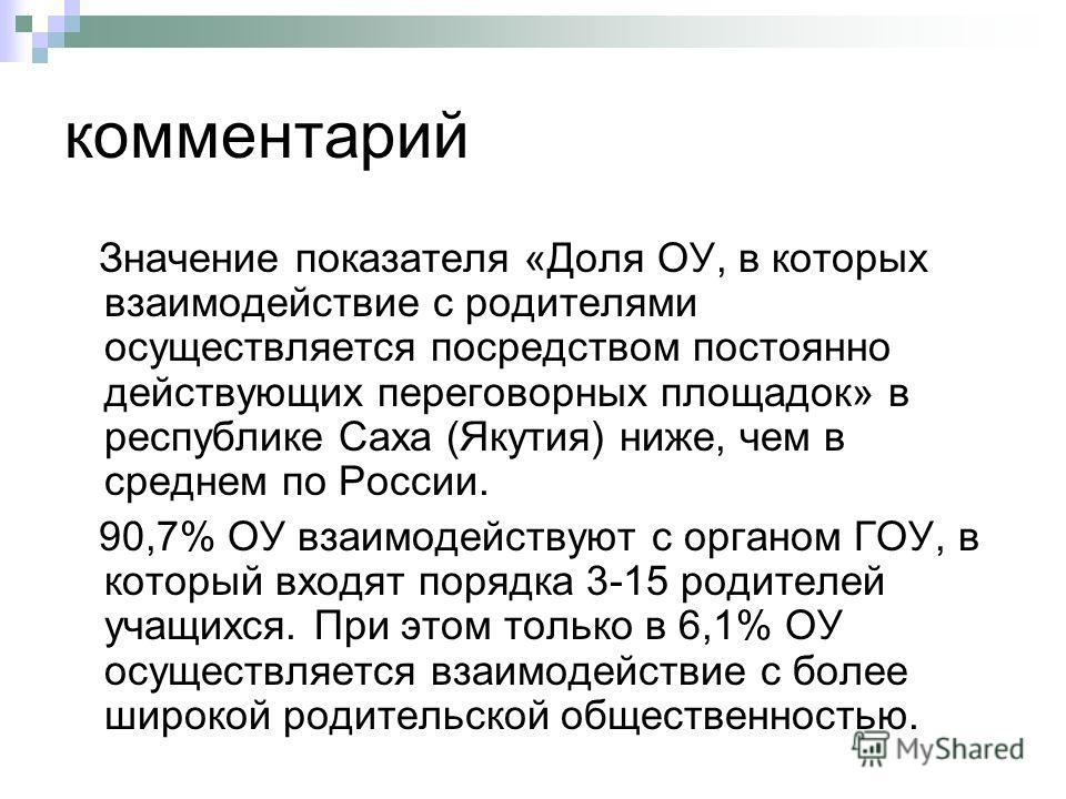 комментарий Значение показателя «Доля ОУ, в которых взаимодействие с родителями осуществляется посредством постоянно действующих переговорных площадок» в республике Саха (Якутия) ниже, чем в среднем по России. 90,7% ОУ взаимодействуют с органом ГОУ,
