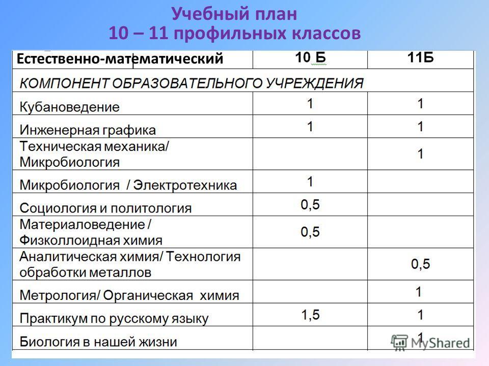 Учебный план 10 – 11 профильных классов Естественно-математический