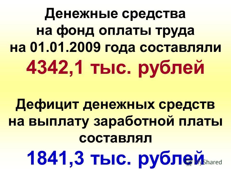 Денежные средства на фонд оплаты труда на 01.01.2009 года составляли 4342,1 тыс. рублей Дефицит денежных средств на выплату заработной платы составлял 1841,3 тыс. рублей