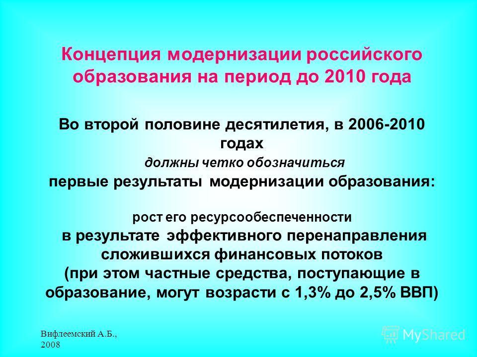 Вифлеемский А.Б., 2008 Концепция модернизации российского образования на период до 2010 года Во второй половине десятилетия, в 2006-2010 годах должны четко обозначиться первые результаты модернизации образования: рост его ресурсообеспеченности в резу
