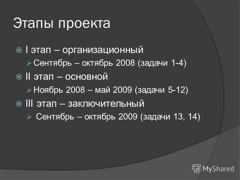 Этапы проекта I этап – организационный Сентябрь – октябрь 2008 (задачи 1-4) II этап – основной Ноябрь 2008 – май 2009 (задачи 5-12) III этап – заключительный Сентябрь – октябрь 2009 (задачи 13, 14)
