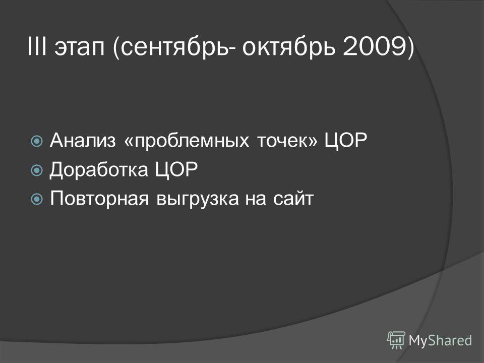 III этап (сентябрь- октябрь 2009) Анализ «проблемных точек» ЦОР Доработка ЦОР Повторная выгрузка на сайт