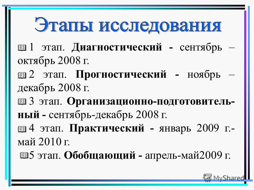 1 этап. Диагностический - сентябрь – октябрь 2008 г. 2 этап. Прогностический - ноябрь – декабрь 2008 г. 3 этап. Организационно-подготовитель- ный - сентябрь-декабрь 2008 г. 4 этап. Практический - январь 2009 г.- май 2010 г. 5 этап. Обобщающий - апрел