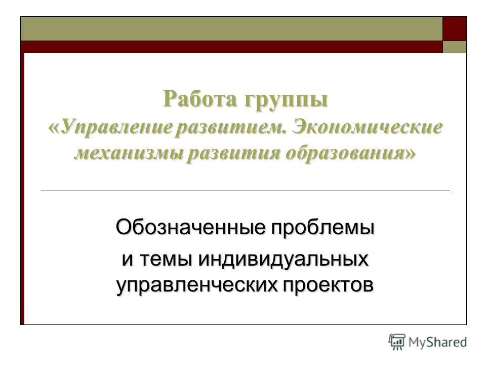 Работа группы «Управление развитием. Экономические механизмы развития образования» Обозначенные проблемы и темы индивидуальных управленческих проектов
