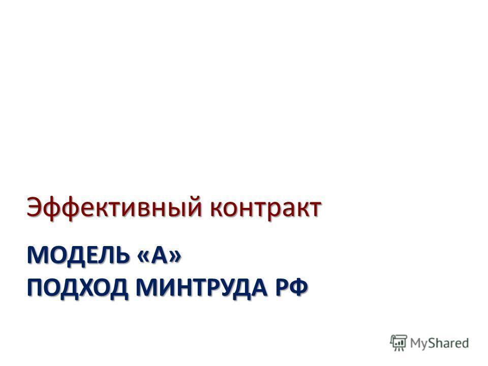 МОДЕЛЬ «А» ПОДХОД МИНТРУДА РФ Эффективный контракт